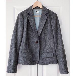J. Crew Grey Herringbone Wool Blend Blazer size 8